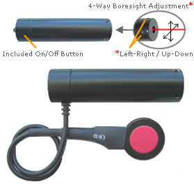Adjustable Red Dot Laser: Class IIIA, Battery, On/Off Switch 4mW - Click Image to Close